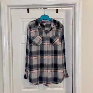 Merona Pink,Green&White Plaid Long Sleeve Shirt XL